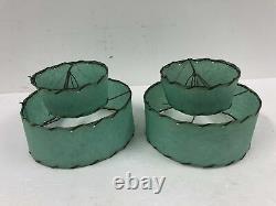Vintage Two Tier Lamp Shade Pair blue fiberglass 50s mid century modern clip on