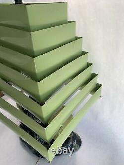 Vintage Venetian Tier TV Lamp Chalkware Pyramid Shade Mid Century Oriental Green