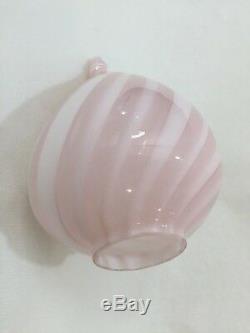 Vintage Vetri Murano Handblown Pink Swirl Glass Lamp Shade, 8 Tall x 6 Widest
