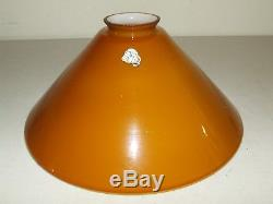 Vintage Vianne French Art Glass Amber Butterscotch Hurricane Student Lamp Shade