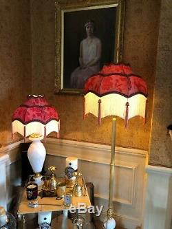Vintage Victorian Downton Abbey Traditional Reds Brocade silk scollop Lampshade