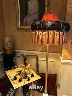 Vintage Victorian Downton Abbey TraditionalRedGold Brown Fringe Tassel Lampshade