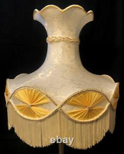 Vintage Victorian Lamp Shade Floral Silk Scalloped Tassel Bell Shade 22W 18.5H