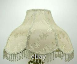 Vintage Victorian Porcelain Floral Table Lamp 25.5 Tall With Scalloped Shade