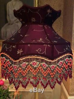 Vintage Victorian Traditional Downtown Abbey Red Silk Crown Beaded Lampshade