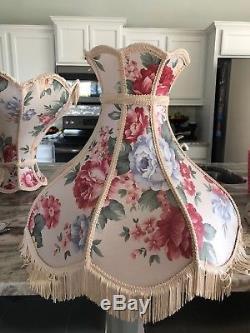 Vintage Victorian Umbrella lamp shade with fringe