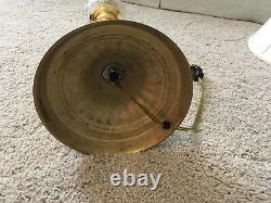 Vintage WATERFORD LAMP With Polished Brass Base, Stem, Round Crystal Ivory Shade