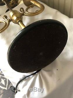 Vintage Wildwood Brass French Horn Lamp Black Shade 2 Light Bouilotte Desk Table