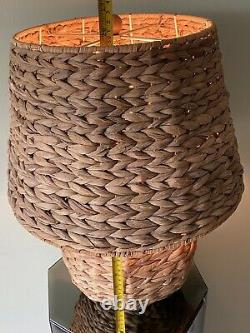 Vintage Woven Wicker Rattan Globe Table Lamp & Shade RARE