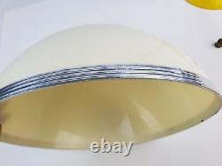 Vintage Yellow plastic Mushroom table lamp chrome trim shade works great Pop 70s