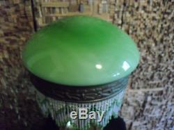 Vintage art deco table lamp with bead. Green opaline globe! Original