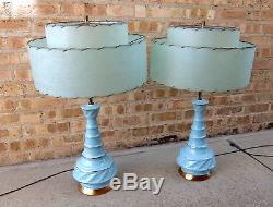 Vintage mid century ceramic lamps pair aqua turquoise fiberglass shades MCM