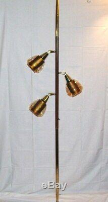 Vintage mid century danish tension pole floor lamp smoked glass shades 1970s era