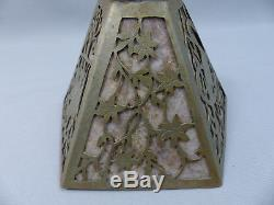 Vintage or Antique Arts and Crafts Pierced Bird Overlay Mica Lamp Shade