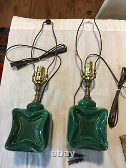 Vintage vanity lamps Green ceramic fiberglass shades 40s 50s Mid century Atomic