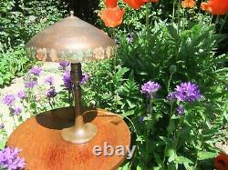 Vntg Handel Bronze & Brass Table Lamp with Oriental Poppy Border on Shade New Cord