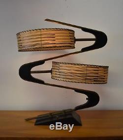 Vtg 1950's Majestic Zig Zag Boomerang Table Lamp Original Fiberglass Shades