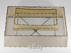 Vtg 1950s Mid Century Atomic Modern 2 Tier Fiberglass Lamp Shade Table Light MCM