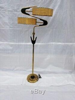 Vtg 1950s Retro ATOMIC Mcm Z Majestic Luxcraft Floor LAMP Fiberglass SHADES