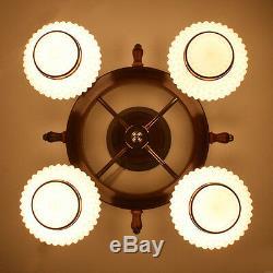 Vtg 21 Nautical Ships Wheel Ceiling Light Chandelier Lamp Fixture Hobnail Shade
