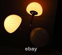 Vtg 34 Chrome Space Age/Atomic MCM Table Lamp 3 White Glass Mushroom Shade J806