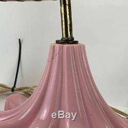 Vtg 3pc Lamp Set Pink Mid Century Retro Table Lamps Fiberglass Shades