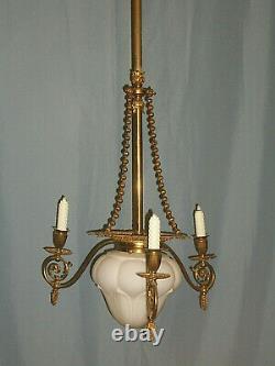 Vtg Antique Combo 3 GAS & 1 ELECTRIC LIGHT FIXTURE LAMP CHANDELIER Glass Shades