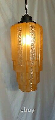 Vtg/Antique Skyscraper Cake Tier Art Deco Etched Glass Light Fixture Chandelier