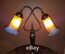 Vtg/Antique Solid Bronze Quezal Glass Shades Parlor Table Desk Lamp Light