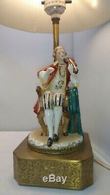 Vtg Antique Victorian Man Woman Porcelain Figurine Table Lamp Set With Lace Shades