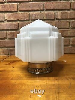 Vtg Art Deco Milk Glass Skyscraper Space Age Shade Ceiling Mount Light Fixture