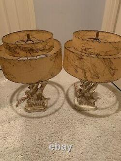 Vtg Atomic 1950s Pair Of Lamps Chalkware Mid Century with Fiberglass Shades