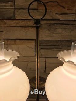 Vtg Brass 2 Light Victorian Style Hurricane Lamp Milk Glass Shades Banker 24
