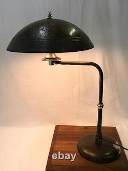 Vtg Emeralite Table Desk Lamp Industrial Metal Dome Shade Adjustable Swivel Arm