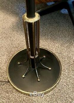 Vtg Floor Lamp Atomic Mid Century Design Starburst Fiberglass Shade