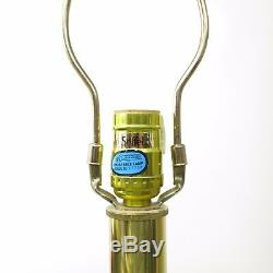 Vtg Hollywood Regency Pair Stiffel Brass Floor Lamp Lotus Base Original Shades