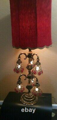 Vtg Hollywood Regency Six ArmLight OOAK BrassTable Lamp w Red Velvet Lampshade