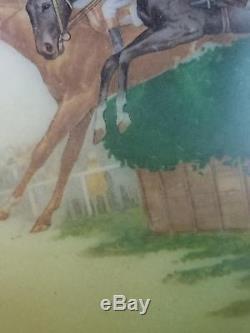 Vtg Horse Steeplechase Oil Kerosene GWTW Banquet Lamp Shade 9.5 Globe 4 fitter