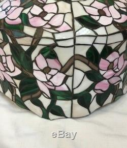 Vtg Large Tiffany Style Stained Glass Lamp Shade Leaded Slag Wh/Gr/ Pink Flowers