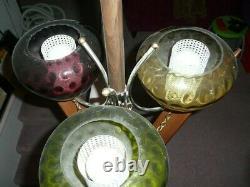 Vtg MCM 3 light Tension Pole Lamp Thumb Print Glass Shades Curved Teak Slats