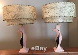 Vtg MCM Chalkware Pair Of Table Lamps With 2 Tier Fiberglass Shades