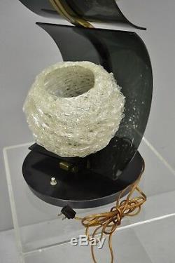 Vtg MCM S Shape Sculptural Brass Table Lamp 3 Spun Spaghetti Fiberglass Shades