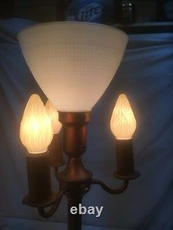 Vtg Mid Century 3 Light Candelabra Floor Lamp With Center 3- Way Milk Glass shade