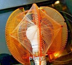 Vtg Mid Century 60s Atomic Pop Op Art String Art Lucite Table Lamp Orange Shade
