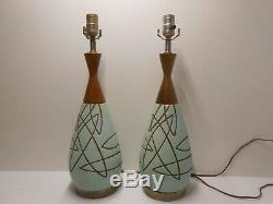 Vtg Mid Century Atomic Mid-Mod Night Stand Side Table Lamps No Shades