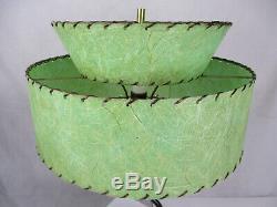 Vtg Mid Century Modern Lamp Set Majestic Atomic Era Fiberglass Tiered Shades 50s