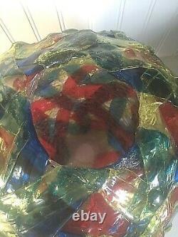 Vtg Mid Century Modern Lucite Globe Only Swag Ribbon Lamp Light Ball Shade