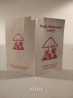 Vtg. Mid-century Modern Magic Mushroom Lamp Coral Shade Wood Psychedelic Gnomes
