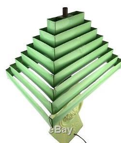 Vtg Midcentury 1950s Green Ceramic TV Lamp Tiered Metal Pagoda Venetian Shade