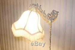 Vtg ORNATE Cast Iron Metal BRIDGE ARM FLOOR LAMP Twisted Column Canopy Shade